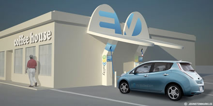 Rendering of Powered EV Charging Station